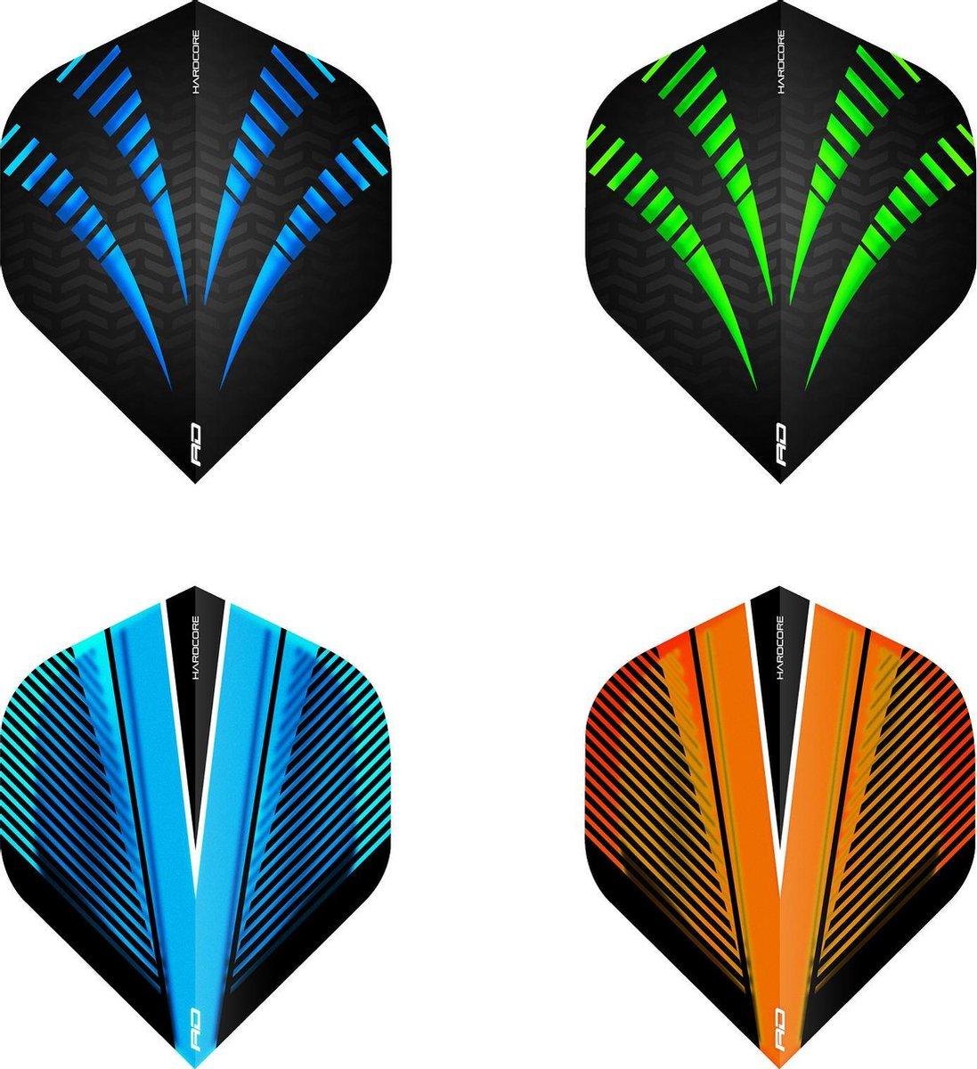 RED DRAGON - Hardcore Stroomstoot Selectiepakket extra dikke dart vluchten - 4 sets per pakket (12 dartvluchten in totaal)