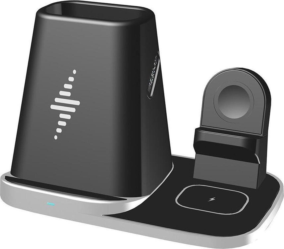 DrPhone LEVEL2 - Draadloze Oplader - 4 in 1 - Docking Station - Oplaadstation - Voor Airpods/ Apple Watch / Apple Penhouder/ iPhone - Zwart