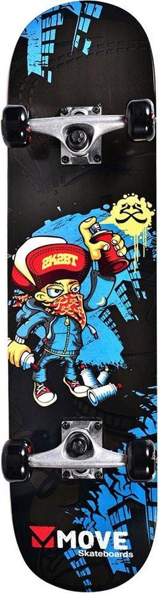 Move Skateboard Graffiti - 31 inch - Zwart Blauw voor jongens en meisjes