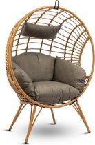 MaxxGarden Lounge stoel - tuinstoel op poten - ei-vormige hangstoel - rotan - met kussen - 132cm