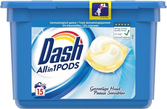 Dash All-in-1 pods Gevoelige huid - 15 waspods