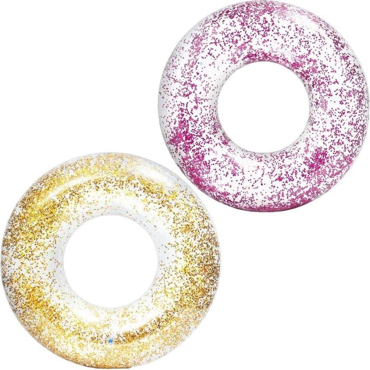 Intex Zwemband Glitter Roze en Goud - 2 stuks - 119 cm - Inclusief Reperatieset