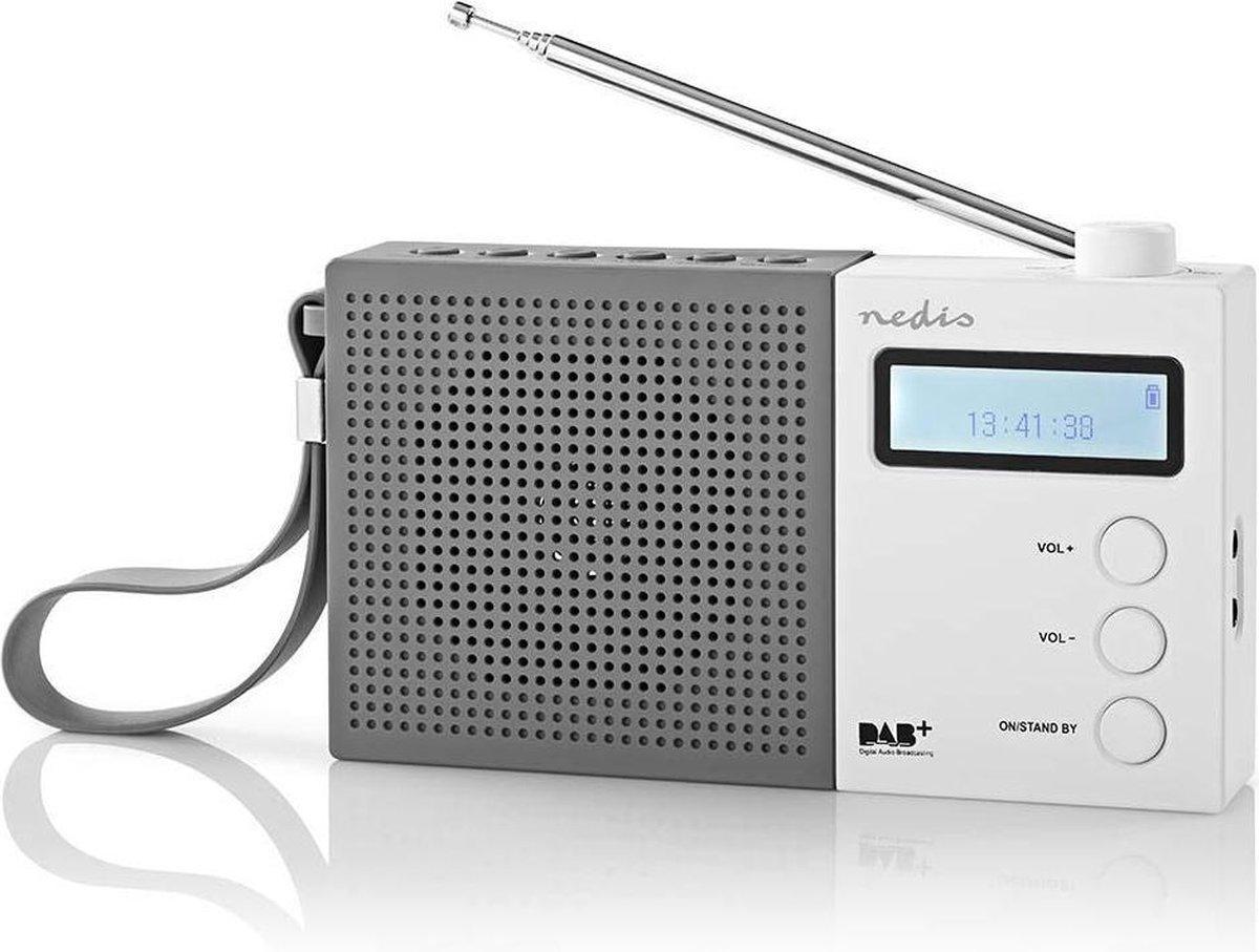 Nedis portable DAB+ radio met klok en wekker / grijs/wit