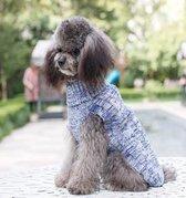 Gebreide trui kleur blauw gemeleerd voor de hond