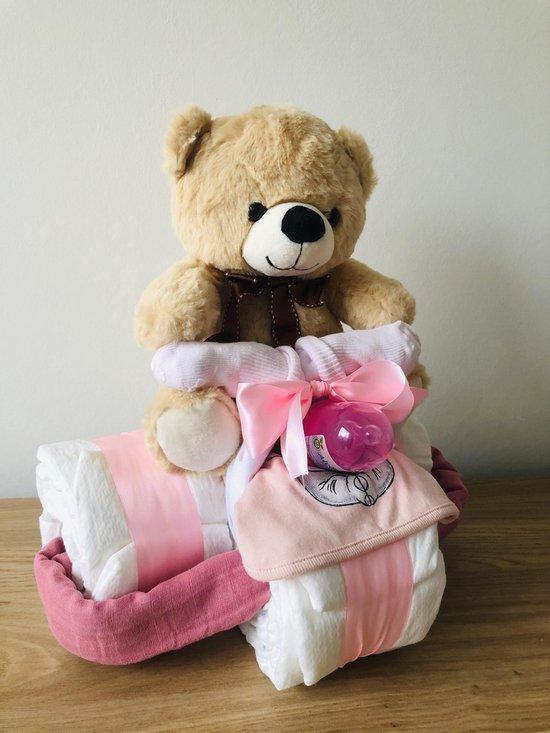 Luiertaart driewieler meisje   kraamcadeau   babyshower   kraamfeest
