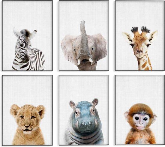 Dieren kinderkamer posters - 6 Posters - 20x30 cm - Stevig papier - Safari