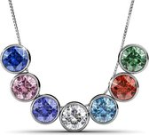 Yolora Swarovski Elements Dames Ketting Set - Halsketting met 7 hangers, zilverkleurig met kristallen (o.a groen, wit, rood, blauw) - Cadeauset - YO-113