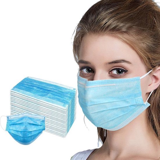 Afbeelding van Mondkapjes-Mondkapje-Mondkap-Mondmasker 50stuks-medisch-Stofmasker-Medical-Mask-Masks--3-laags Wit
