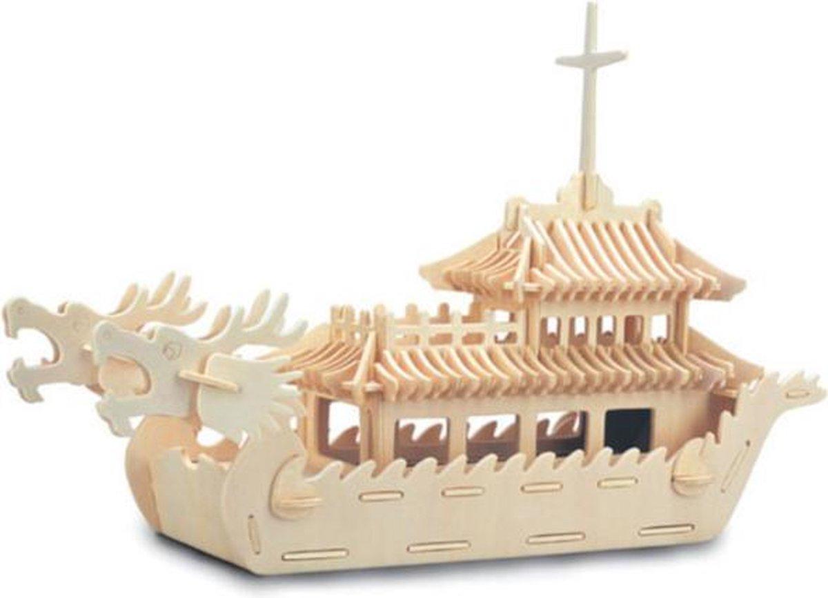 Bouwpakket 3D Puzzel Drakenboot - hout
