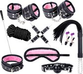 MyFantasy BDSM XL Extreme Bondage Set – 13-Delige Sex Toys Set Met Luxe Handboeien, Tepelklemmen, Halsband, Touw en Hogtie - BDSM Set
