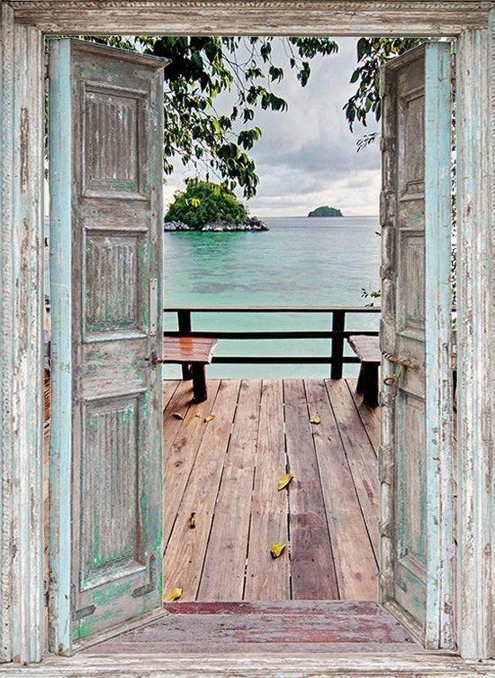 Bol Com Tuindoek Doorkijk 95x130 Cm Openslaande Deuren Naar Thais Vlonder Terras Tuin