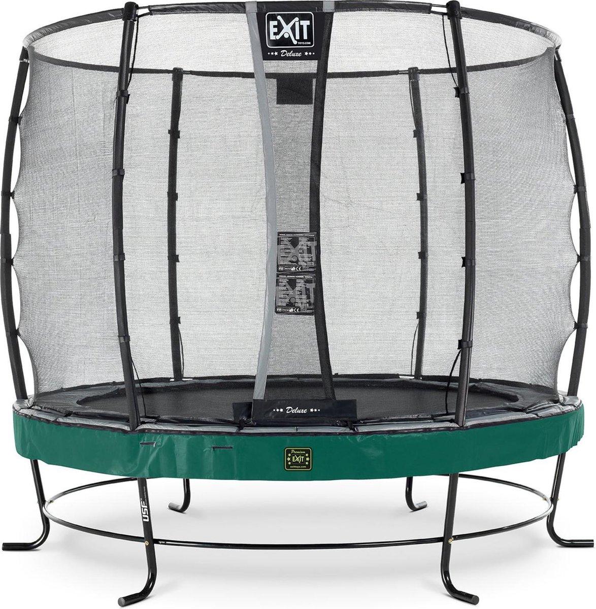 Trampoline EXIT Elegant Premium - ø253cm + net Deluxe - groen