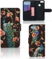 Xiaomi Mi A1 Telefoonhoesje met Pasjes Pauw met Bloemen