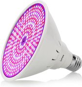 Lumore kweek lamp 290 LEDs - Bloeilamp met houder - Flexibele houder - E27 fitting - Kweeklamp - Met klemhouder - Bevordert het groeiproces van (jonge) plantjes - Groeilamp klem - Kweektunnel - Kweekbak - Wit