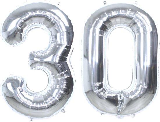 Folie Ballon Cijfer 30 Jaar Zilver 86Cm Verjaardag Folieballon Met Rietje