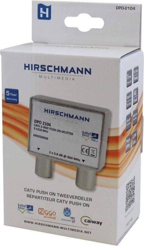 Hirschmann TV splitter DPO2104 met 2 uitgangen - 3,8 dB / 5-1218 MHz