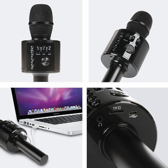 LifeGoods Karaoke Microfoon - Draadloos - Bluetooth Android/iPhone/Apple - HiFi Speaker - Zwart