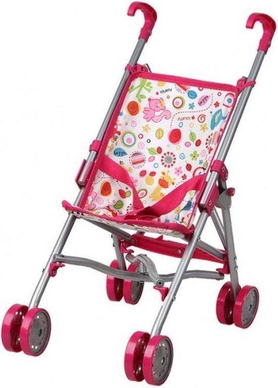 Fuchsia roze poppenwagen speelgoed voor meisjes - Poppen accessoires buggy/wandelwagen roze/wit