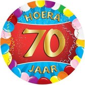 100x stuks gekleurde bierviltjes/onderzetters 70 jaar thema feestartikelen en versiering