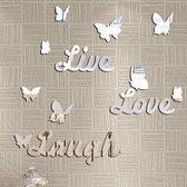 Zelfklevende Live Laugh Love Spiegel Stickers - Wand Decoratie Liefde Met Vlinders - Spiegelende Tegelstickers Muurstickers - 3D Spiegelstickers - Zilver Kleurig