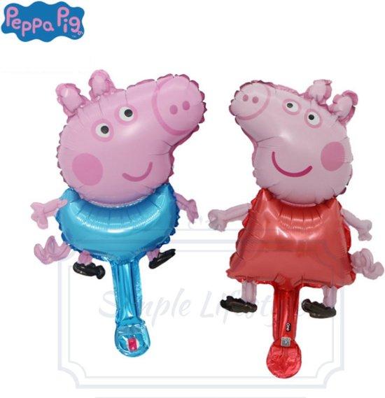 Peppa Pig big ballon kinderfeestje - verjaardag versiering kinderfeestje feestpakket- 2 stuks - Inclusief opblaas rietje