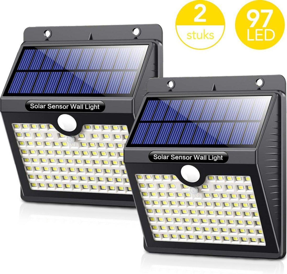 LifeGoods Solar Buitenlamp met Bewegingssensor - 97 LEDs - Wit Licht -Tuinverlichting op Zonneenergi