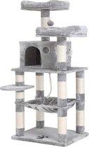 MIRA Home Krabpaal - Kattentoren - Huisdieren - Stabiel - Hout - Grijs/Wit - 55x45x143