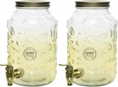 Set van 2 glazen drank dispenser/limonadetap 3,8 liter goud met tapkraantje - Drankdispensers/waterdispensers