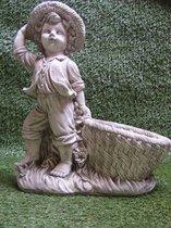 Tuinbeeld -Jongen met bloembak - Decoratie voor binnen/buiten - Beton
