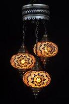 Hanglamp-bruin-3 bollen-glas-mozaïek-Turkse lamp-oosterse lamp-kroonluchter-Marokkaanse lamp
