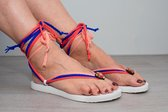 Lage bandajanas slipper, wit, maat 41