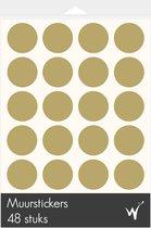 Polka Dots Decoratie Muurstickers - Stippen Decoratie Stickers - Kinderkamer - Babykamer - Slaapkamer - Goud - 48 stuks