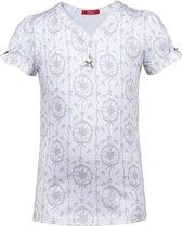 Exclusief Luxueus Kinder nachtkleding Luxe mooie zacht beige Girly Pyjama Top van Hanssop met verfijnde rand details en een stylish bijpassend strikje, Meisjes pyjama Top, beige, maat 164