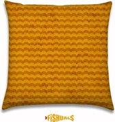 Buitenkussen - Sierkussen - Tuinkussen - Outdoor - kussen met zomerse golven van Fishuals kleur oranje 40x40cm