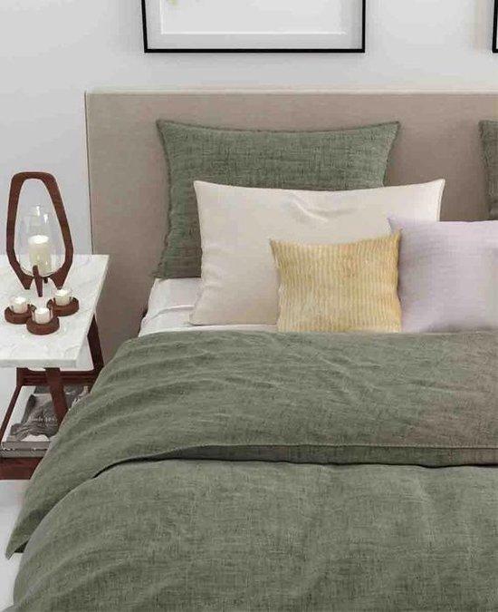 Zo! Home Lino - Dekbedovertrek - Tweepersoons - 200x200/220 cm + 2 kussenslopen 60x70 cm - Army Green