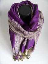 Mooie hippe sjaal figuren lengte 180 cm breedte 70 cm kleuren paars beige geel zwart franjes.