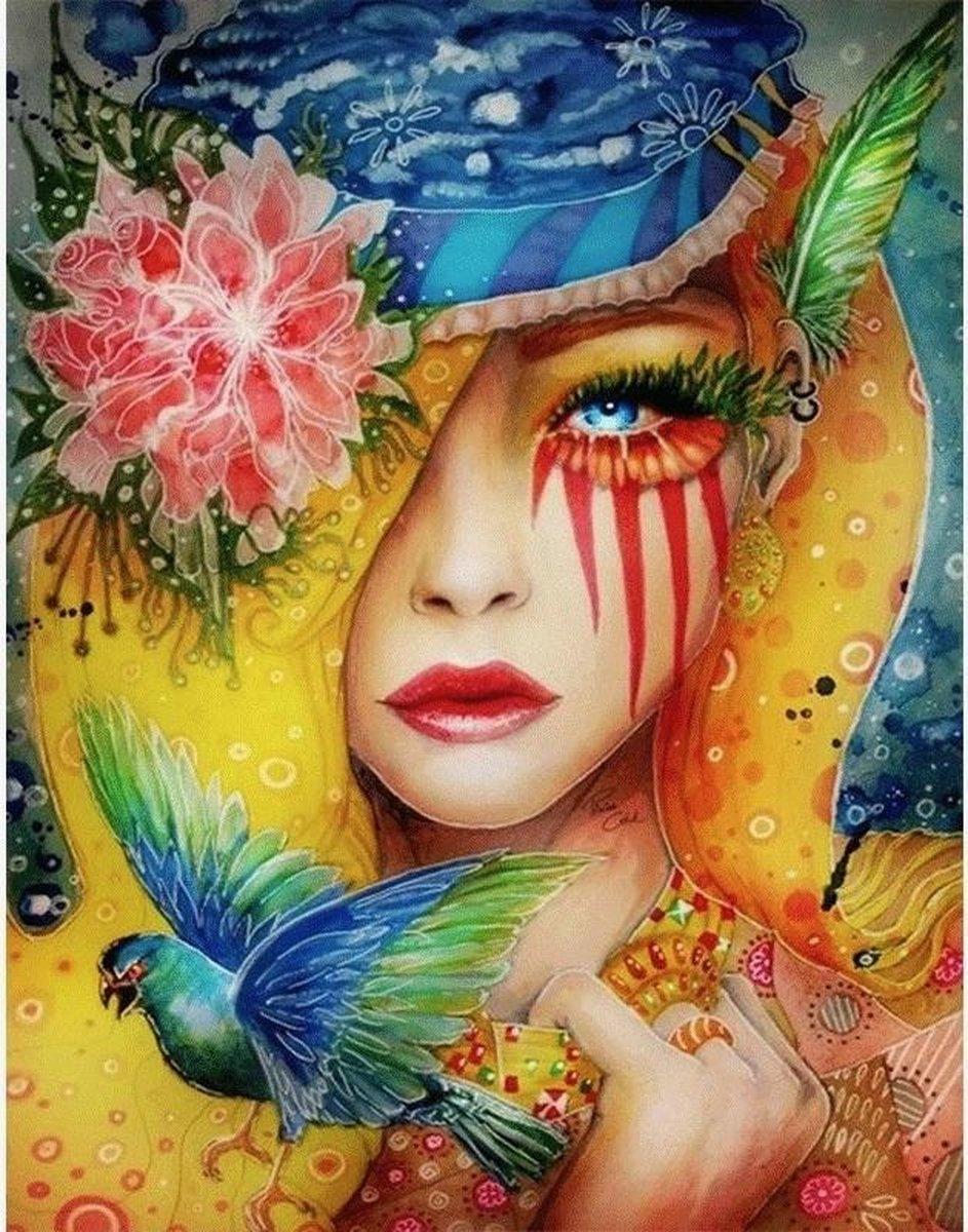 Diamond Painting - Mensen - Vrouw Natuur Abstract - 30x40cm - Diamond Paintings Pakket - Diamond Painting Volwassenen - Diamond Painting Kinderen - Diamond Schilderij - Diamant Schilderen - Hobby Painting - Canvas Schilderij - Gooda