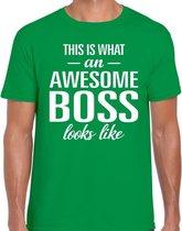 Awesome Boss tekst t-shirt groen heren - heren fun tekst shirt groen 2XL
