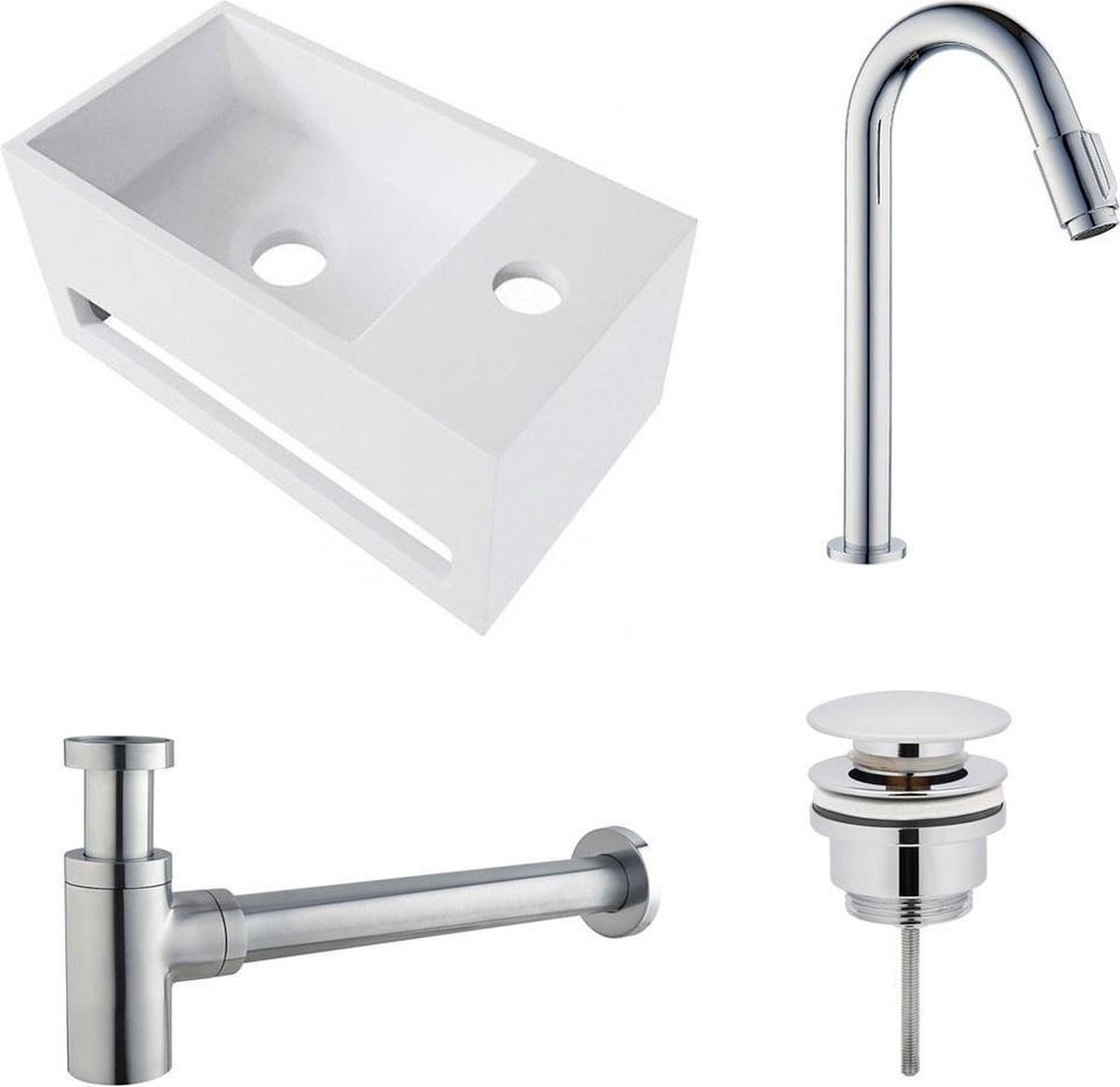 Fonteinset Yano Solid Surface Rechts 36x20x16cm Toiletkraan Knop Clickwaste Sifon Chroom