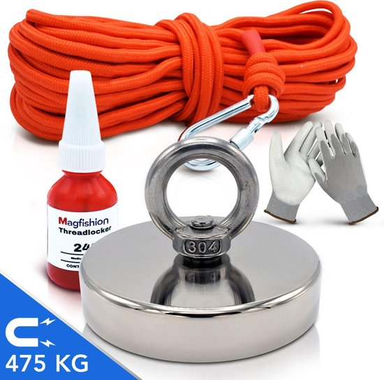 Magfishion® Magneetvissen Set - 475 KG - 20m Touw - Borgmiddel - Handschoenen