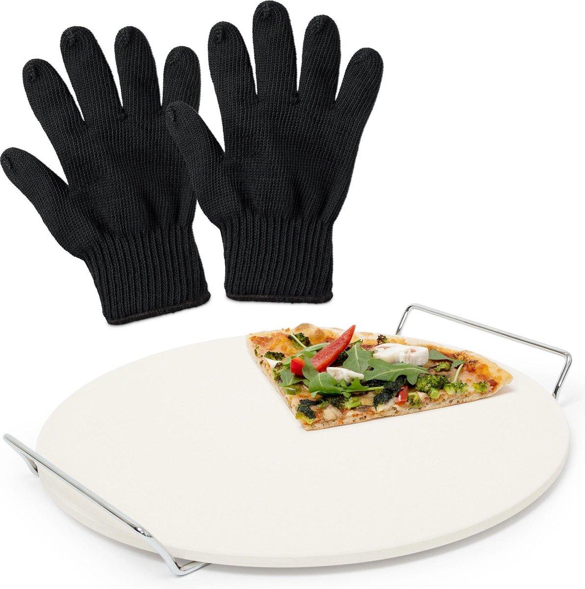 relaxdays 3er pizza set - pizzasteen oven - pizza steen bbq - ovenhandschoenen - zwart