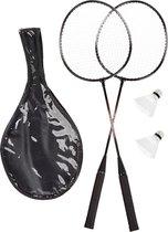 relaxdays badmintonset - badminton rackets met 2 shuttles  - draagtas met schouderband