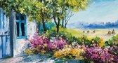 PB-Collection  - Tuinschilderij Aqua Schuur 50x70cm - Tuin Decoratie - Schilderij Buiten - Bloemen