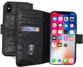Lelycase Echt Lederen Booktype iPhone XR hoesje - Krokodil Zwart