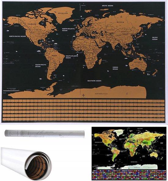 Luxe  Kras Wereldkaart - World Scratchmap Poster - Deluxe Kraskaart Wereld - Wereldbol Poster / Kaart / Wereldmap / World map / Wereld Kaart - Goud/Zwart - 82x59cm