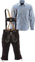 Lederhosen set | Top Kwaliteit | Lederhosen set C (bruine broek + blauw overhemd), XXL, 56