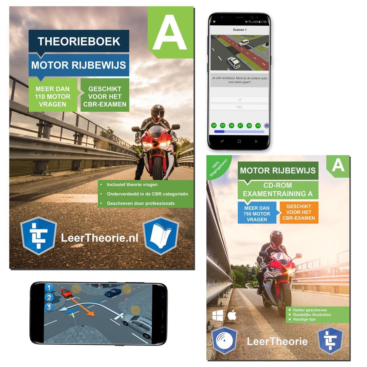 Motor Theorieboek - Theorie Leren Motor Rijbewijs A + CD-ROM incl. MotorTheorieboek Smartphone Exame