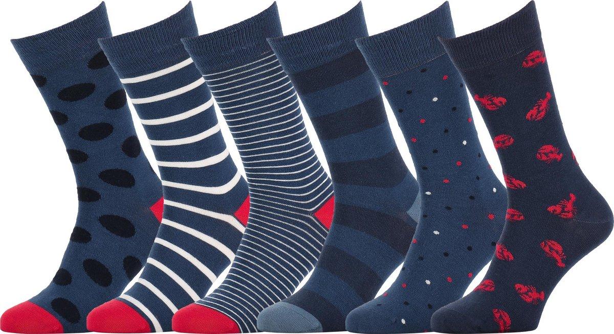 Easton Marlowe Sokken Heren 39-42 - Blauwe Sokken - Gekleurde Sokken Dames Maat 39-42 Navy Wit Rood