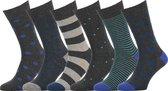 Easton Marlowe Sokken Heren 43 46 Grijs Blauw Heren Sokken - 6 Paar - Katoen Naadloze Sokken - Stippen Strepen - Kousen Heren - Leuke Sokken Mannen - Herensokken Maat 43-46 - Anthraciet Turquoise Socks 6 Pack #33