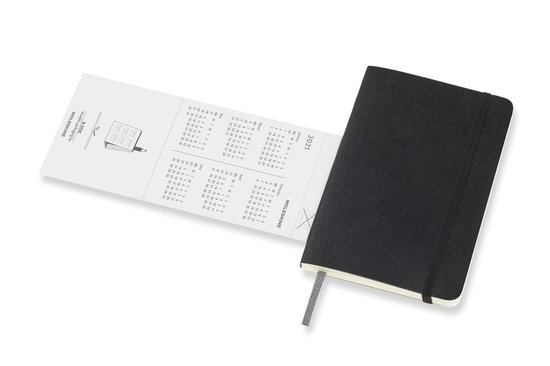 Moleskine 12 Maanden Agenda - 2021 - Wekelijks - Pocket (9x14 cm) - Zwart - Zachte Kaft